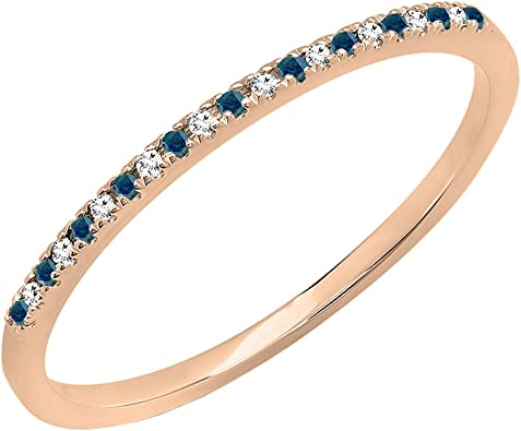 10K Gold Round White Diamond Ladies Dainty Anniversary Wedding Stackable Ring 0.08 Carat ctw