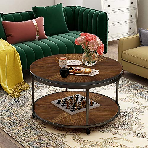 Romatlink Round Caster Wheels and Unique Textured Surface, Rustic,Cocktail Farmhouse Coffee Table,Ideal for a Family Living Room, Brown