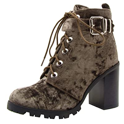 Qupid Women's Lace-Up Ankle Strappy Buckle Chunky Stacked Heel Ankle Bootie | Shoes