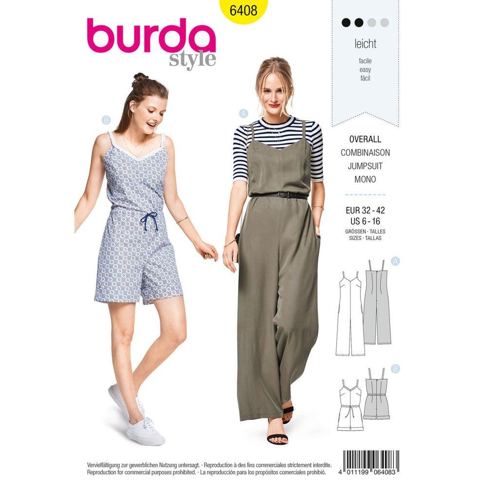 Burda 6408 Schnittmuster Overall Damen, Gr. 32-42 Level 2 leicht