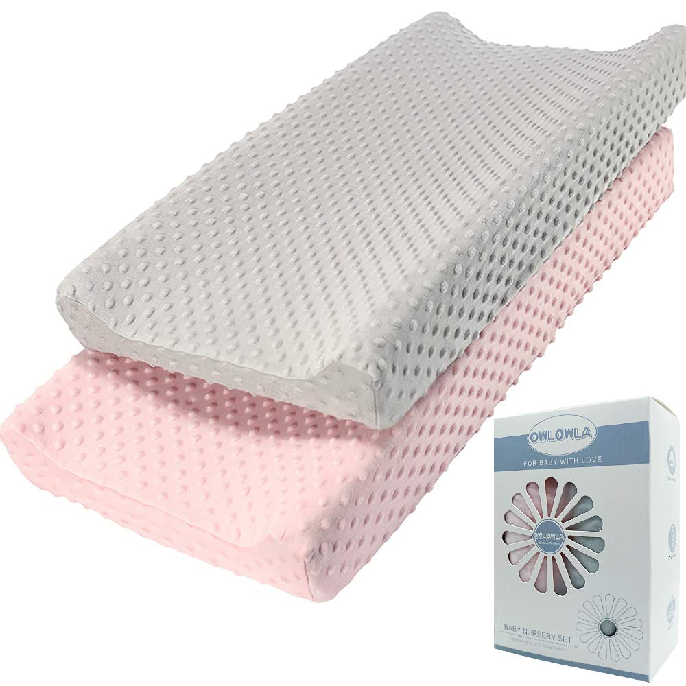 Gray and White Gray Feather and Gray Minky Changing Pad Cover