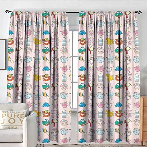 Petpany Rod Pocket Drapes Baby,A Vast Collection of Toys Cartoon Drawing Stroller Drum Car Pacifier Slide Playthings,Multicolor,All Season Thermal Insulated Noise Reduce Curtains 60