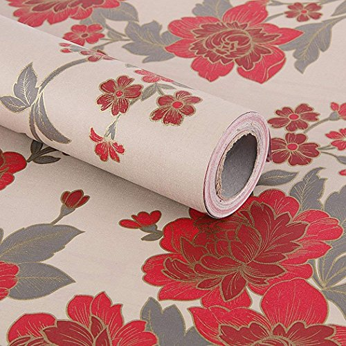 Red Vintage Floral Pattern Contact Paper Shelf Liner Self Adhesive for Cabinets Shelves Drawer Arts and Crafts Decal 17.7x78.7 Inches