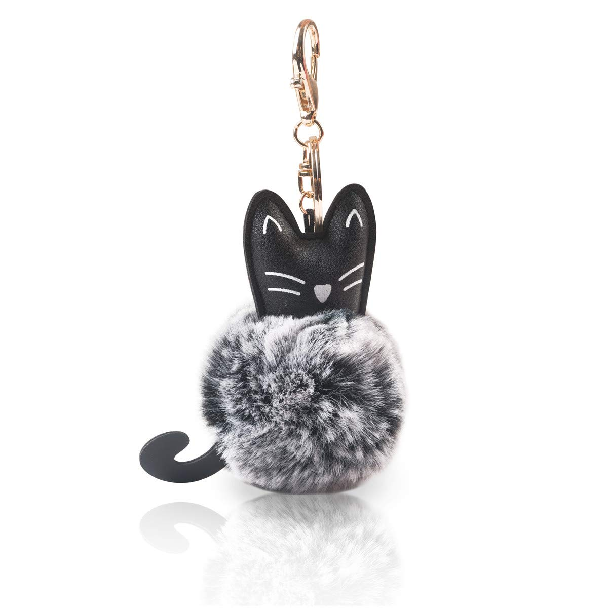 7dea46cfff5 Novelty   More Faux Fur Ball Pom Pom Keychain with A Fashion PU Cat Head for  Womens ...