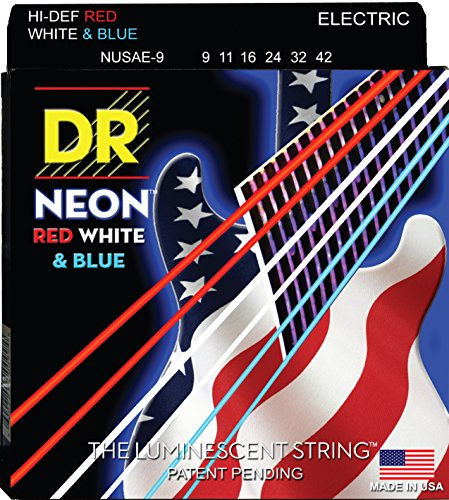 DR Strings NUSAE-9 Coated Nickel Electric Guitar Strings, Light, 9-42, Neon Red/White/Blue