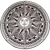 MAXYOYO Black Sun God Apollo Rug Carpet,Round Carpet Area Rug Living Room,Washable Home Decoration Mats