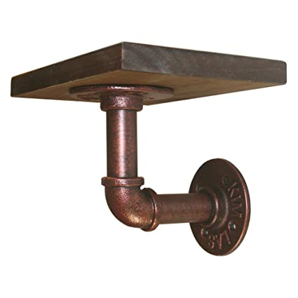 AB Crew Vintage Pipe Wall Mounted Floating Shelf Decorative Metal and Wood Display Stand 7.8 X 5.9 X 0.8 Copper