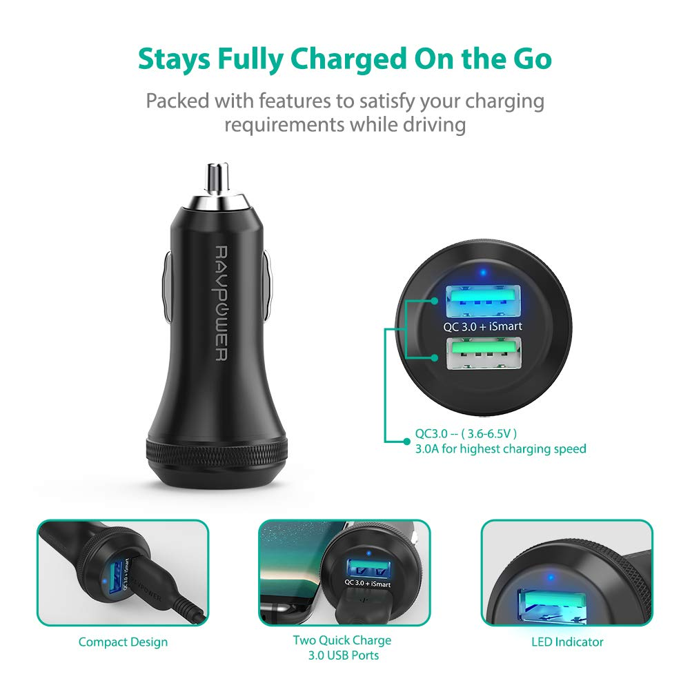 amazon com quick charge 3 0 car charger ravpower 40w 3a car adapter rh amazon com