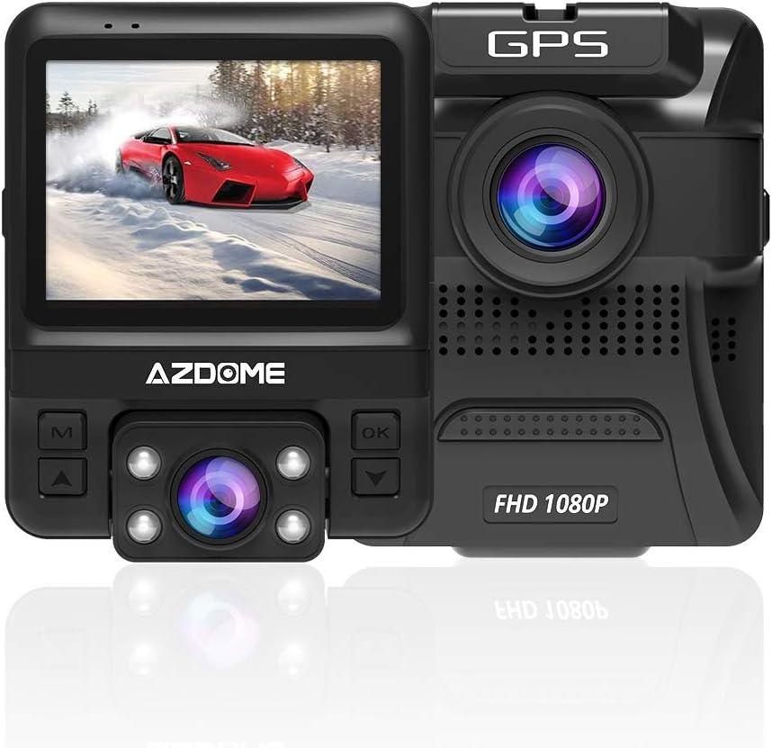 AZDOME Cámara de Coche de Dual Lente Frontal Exterior HD 1080P y Trasero Interior 720P con GPS, Dashcam Grabadora Dash Cam de Ángulo Amplio 170° con G-Sensor,Detección de Movimiento,Grabación en Bucle: Amazon.es: