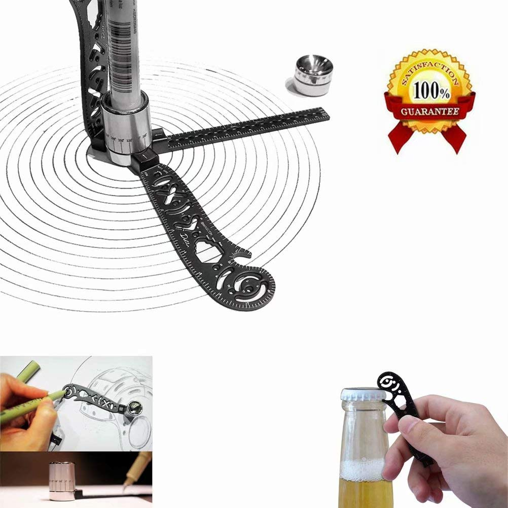 Julvie Multi-Function Drawing Tool,Versatile Magcon Design Drawing Tool,Curved Metallic Ruler Mini Compass Protractor Combo Patterns for Notepad Designers Artists Architects Student