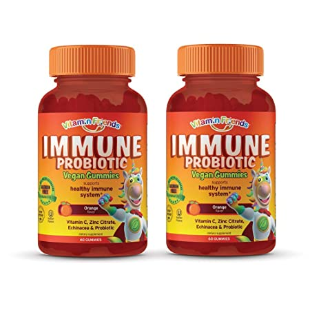 Vitamin Friends Immune Support Gummies for Kids and Adults 60 Count – All Natural Supplement for Healthy Immune System – with Probiotics, Vitamin C, Zinc Citrate, Echinacea