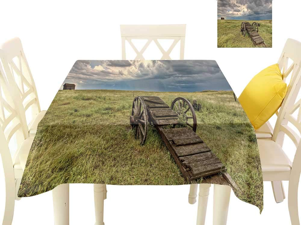 Angoueleven Barn Wood Wagon Wheel,Dinning Tabletop Decoration Old Prairie Cart Agricultural Field Ranch Dramatic Stormy Sky,Dining Table Decorations W 60'' x L 60''
