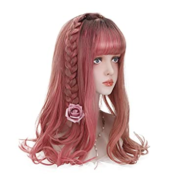 Amazon.com: Lolita Colorful Synthetic Long Curly Wig with Flat Bangs Ombre Black to Red Wavy Wigs for Women Cosplay Costume Party Daily Concert Halloween: ...