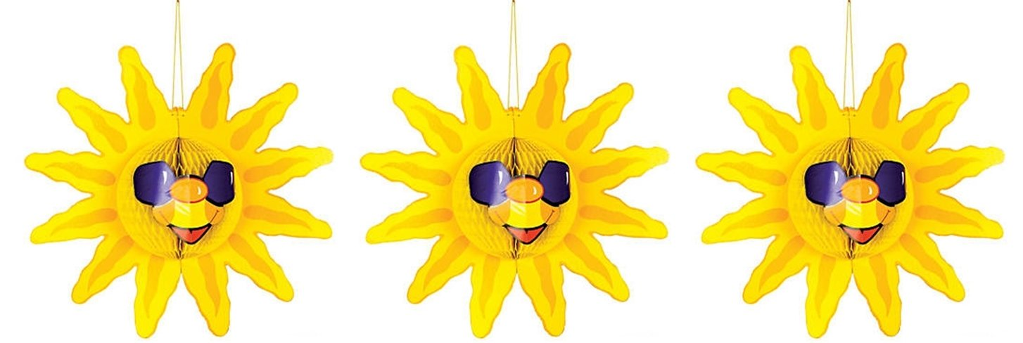 Fun Express 3 pack Hanging Tissue Sun decorations