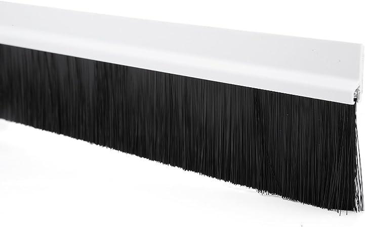 Self-Adhesive Door Bottom Sweep White w 2-inch Black Brush 39-inch x 2.9-inch