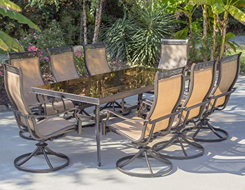 "Hanover MONDN9PCSWG Monaco 9 Piece Set with Eight Swivel Rockers and an Extra Long 42"" x 84"" Dining Table Outdoor Furniture, Tan"