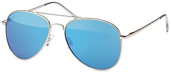 Pilotensonnenbrille mit Federscharnier, silber mit revo-verspiegelten Gläsern in drei versch. Farben (grün verspiegelt)