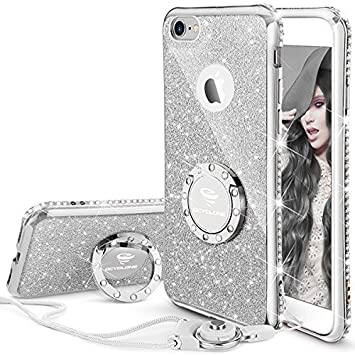 OCYCLONE Funda para iPhone 6 Plus,Ultra Slim Soft TPU Purpurina Fundas Movil con Diamantes Glitter Anillo Protectora Apple iPhone 6 Plus,iPhone 6S Plus para ...