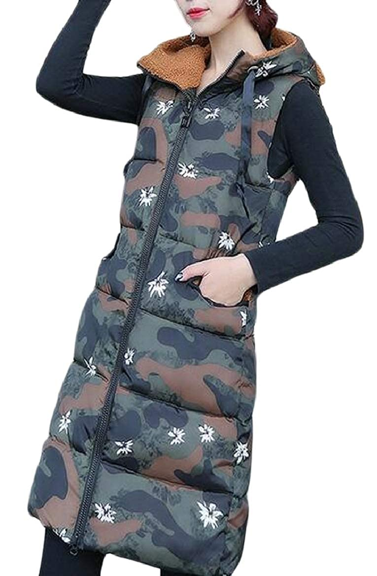 2 pujinggeCA Women's Down Jacket Winter Warm Camo Hoodie Waistcoat Vest