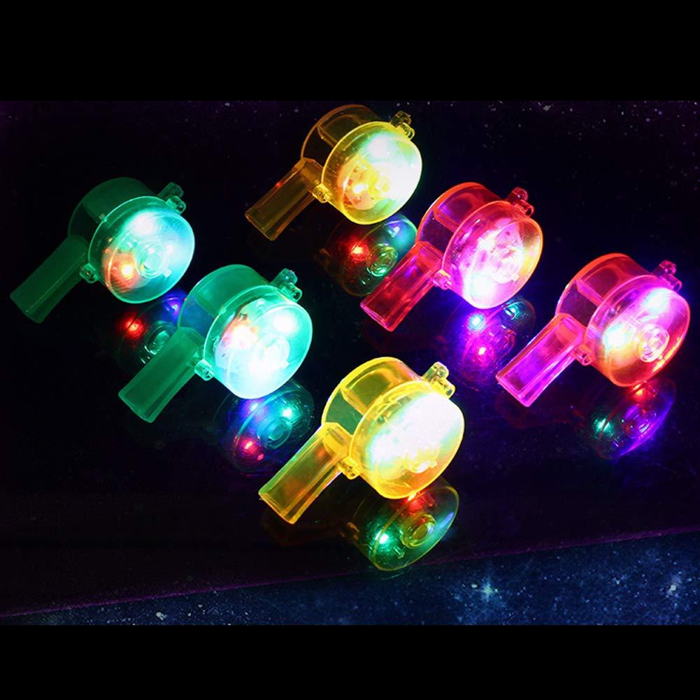 Luminous Whistle Toys Flashing Colorful LED Light Up Kids Birthday Party Gift