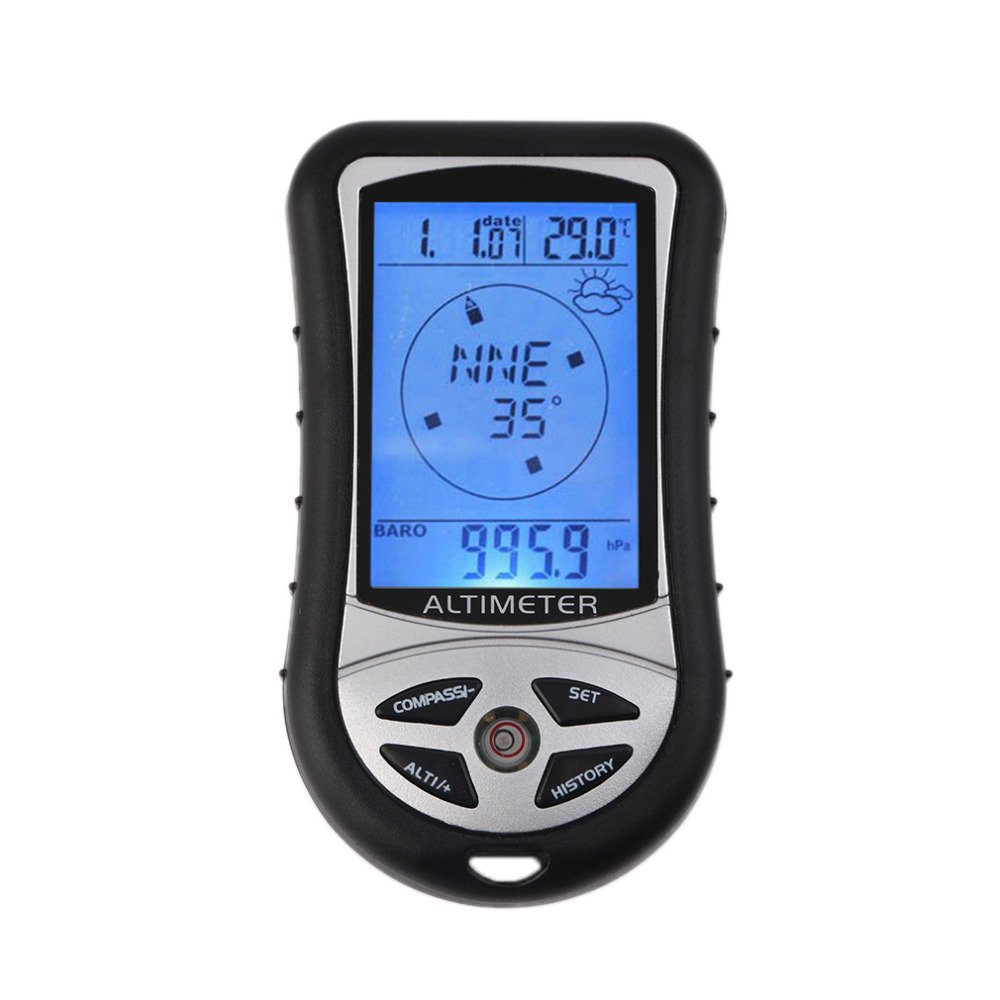 GuDoQi 8 in 1 Digital LCD Compass Altimeter Barometer Thermometer Temperature Clock Calendar for Outdoor Hiking Camping