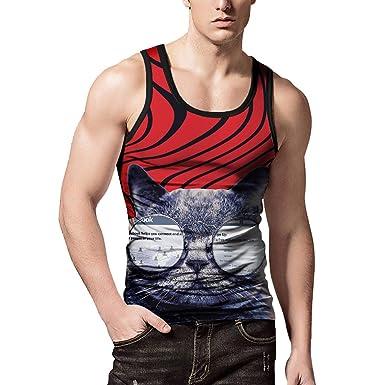 7cd3d19ea6707 Mens Funny Tank Tops 3D Print Sleeveless Short Shirt Top Blouse Workout  Fitness Vest (M