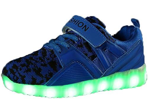 GJRRX Zapatos Led Deportivos para Niños Niñas 7 Color USB Carga LED Luz Glow Luminosos Zappatillas Light Up USB Velcro Flashing Zapatillas 26-37: Amazon.es: ...