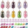 Lots 50 Pcs Barbie Set:10 Pcs Princess Dress/20 Pair Shoes/20 Pcs hangers For Barbie Doll