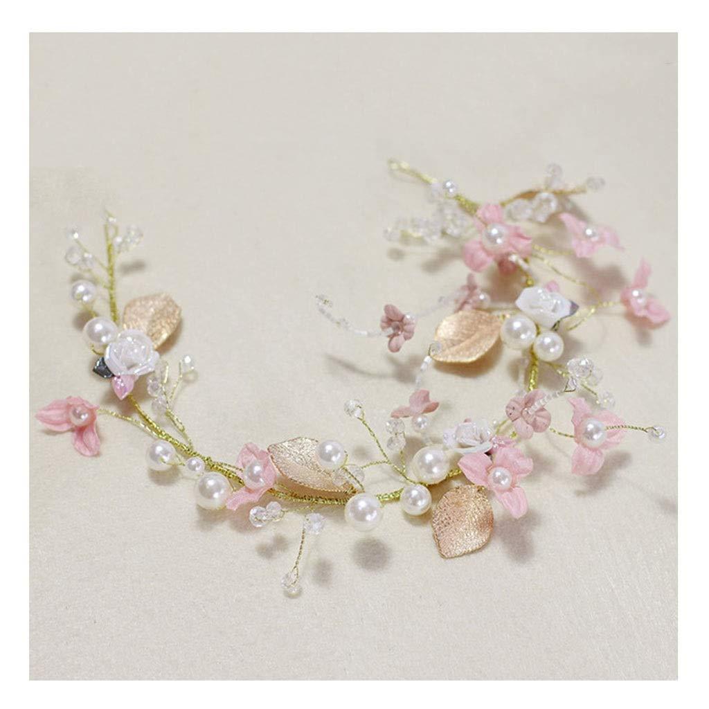 Wreath Flower Girl Headdress Handmade Flower Headband Wedding Bride Show Hair Accessories (Color : B)