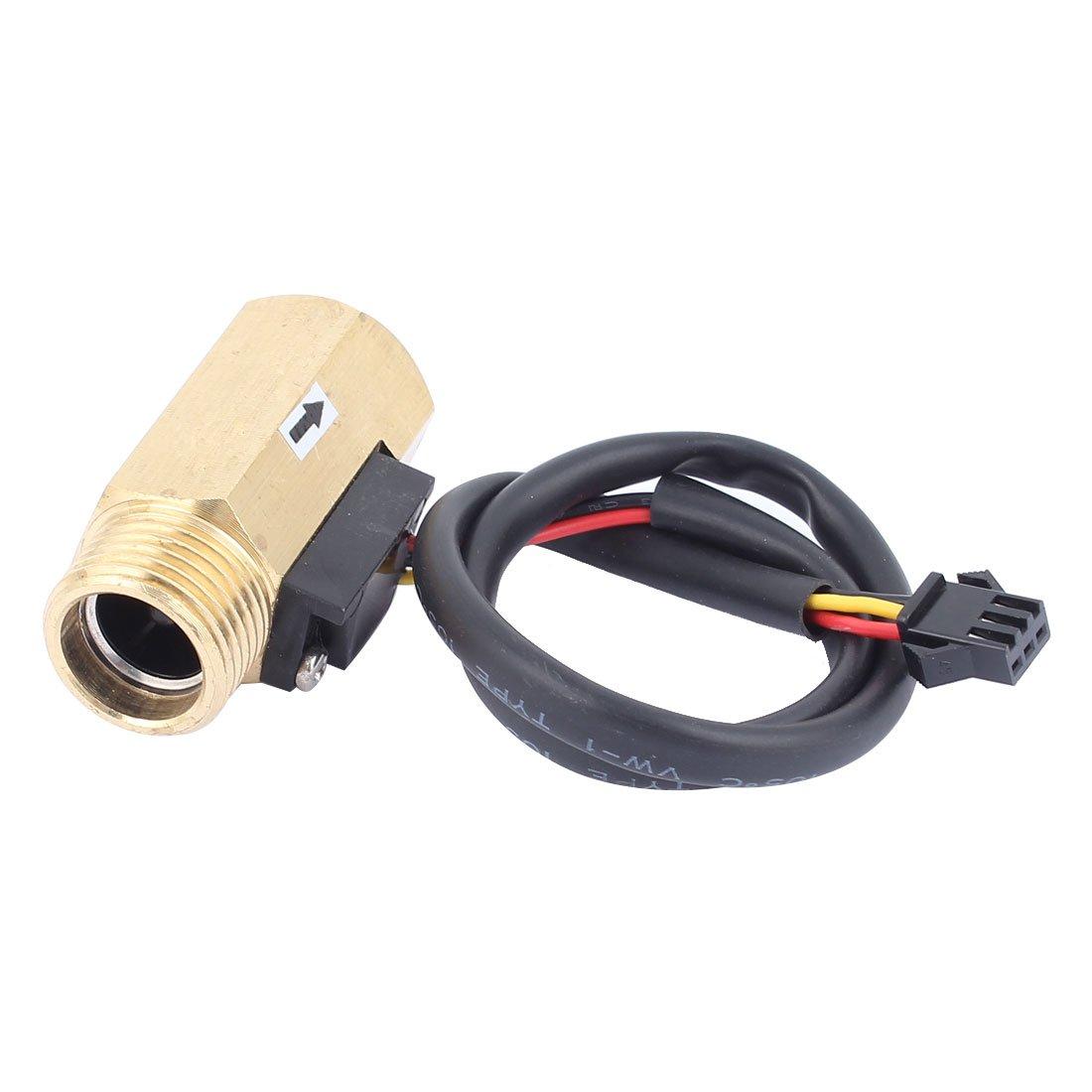 Uxcell G1/2'' Thread Hall Effect Liquid Water Flow Sensor Switch Flowmeter Fluidmeter, 1-30L/minute, 50 mm Long