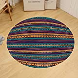 Gzhihine Custom round floor mat Tribal Striped Retro Aztec Pattern with Rich Mexican Ethnic Color Folkloric Print Bedroom Living Room Dorm Teal Plum and Orange
