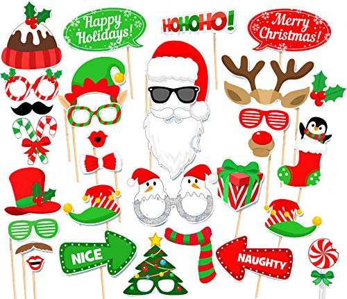 Christmas Photo Booth Props Kit, DIY Christmas Photo Booth with stick Funny Xmas Selfie Props Accessories for Adults Kids for Christmas Theme Party Favors Decorations Decor Supplies,Pack of 32