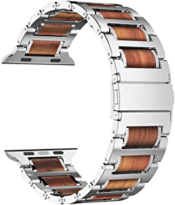 iiteeology Compatible with Apple Watch Band 44mm 42mm 40mm 38mm, Natural Wooden Stainless Steel Link Bracelet Strap for Apple Watch SE Series 6 Series 5 4 3 2 1 - Silver