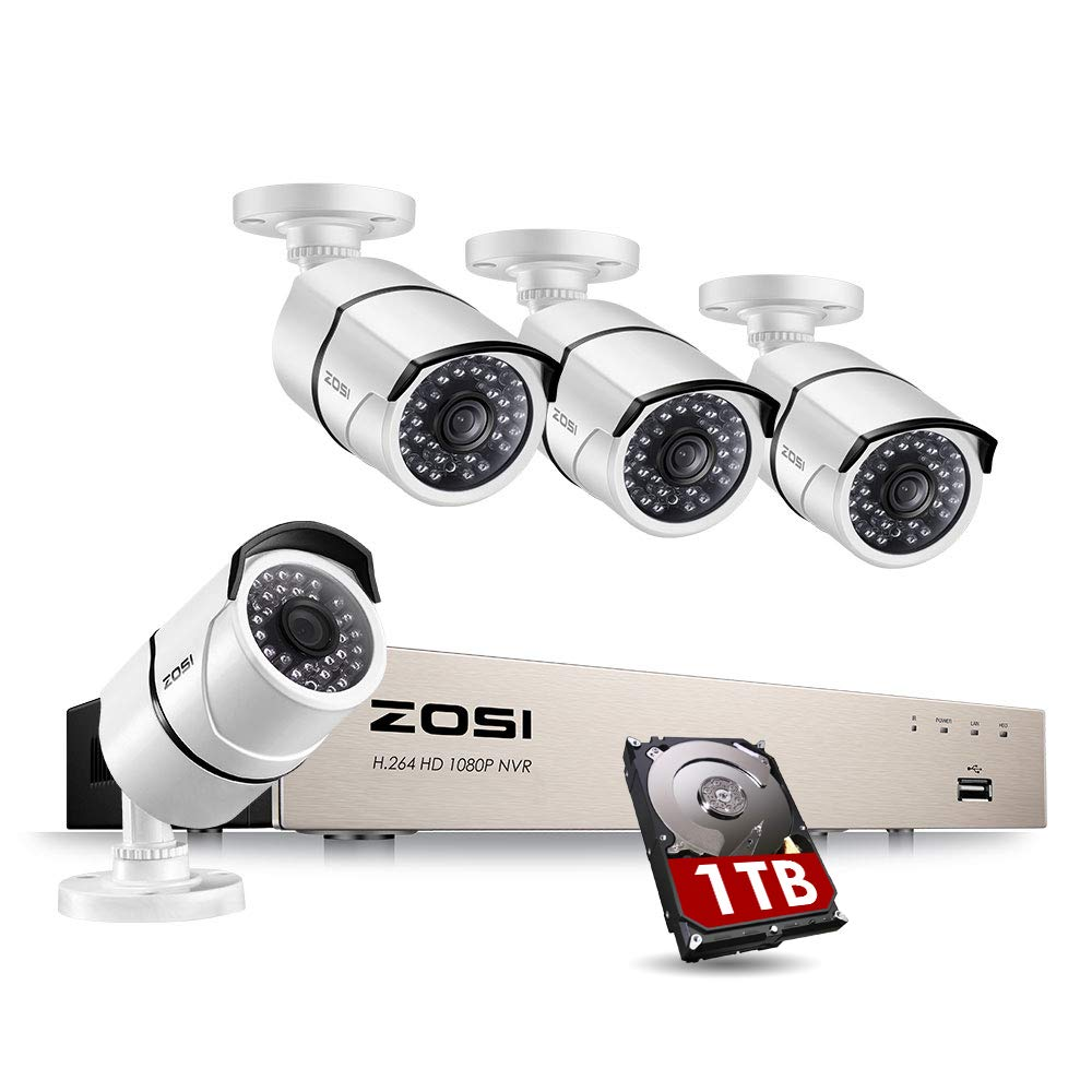 ZOSI 8CH 1080P POE Security System - 8 Channel Surveillance NVR with 4 Bullet Waterproof Cameras & 1TB Hard Drive pre-Installed for Home Office Security