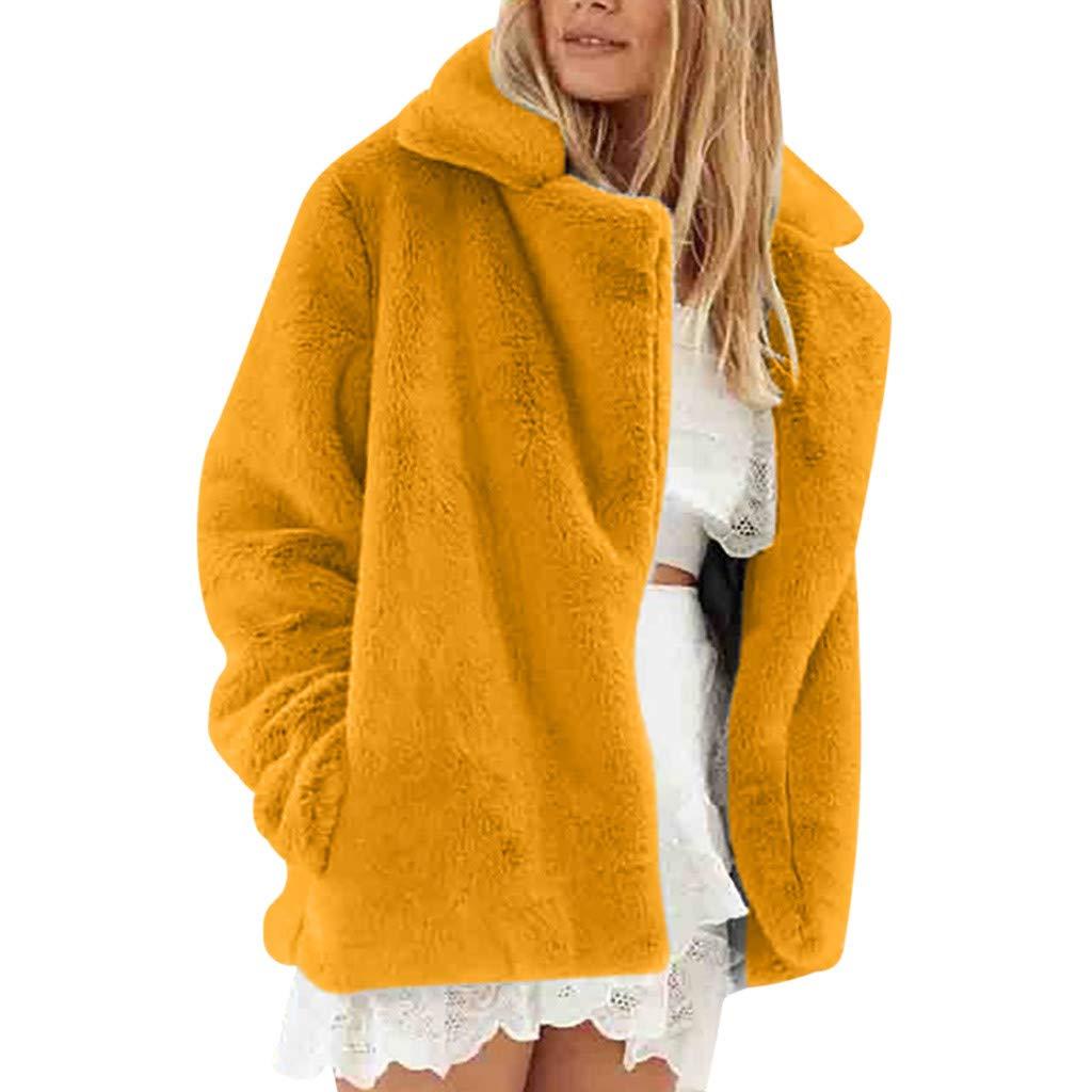 Dainzuy Women's Coat Fleece Fuzzy Faux Shearling Fluffy Jackets Long Sleeve Warm Cardigan Outwear with Pockets Yellow by Dainzuy Women Winter Clothes
