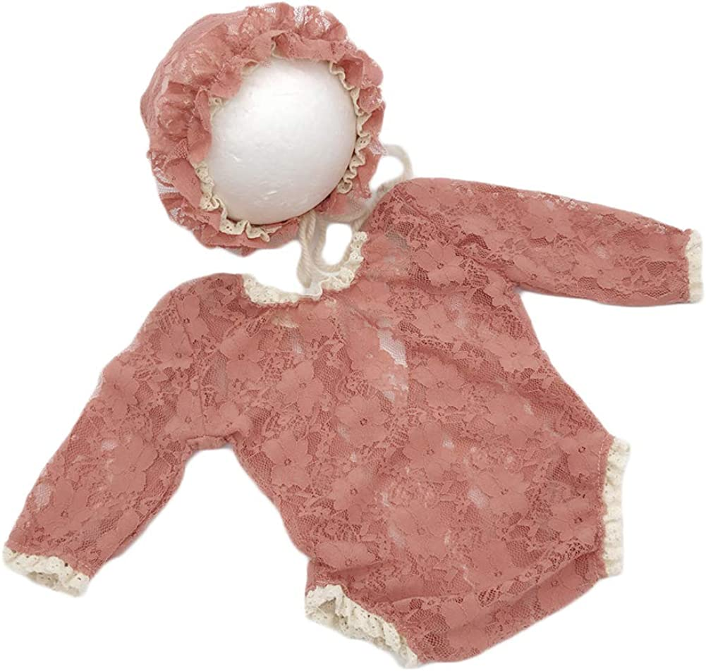 Baby Photography Props Lace Hats Rompers Newborn Girl Photo Shoot Outfits Hat Set Infant Princess Costume