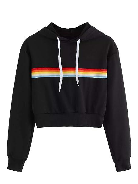 9c6623fa775ac SweatyRocks Women's Long Sleeve Rainbow Stripe Sweatshirt Crop Top Hoodies  Black XL at Amazon Women's Clothing store:
