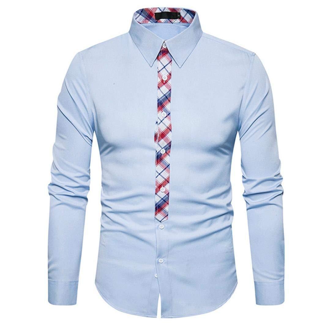Men Casual Mens Plaid Fashion Shirts Males Long Sleeve Slim Fit Business White Black Blue Casual Shirt Wild Tight for Men