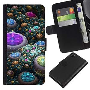 Planetar® Modelo colorido cuero carpeta tirón caso cubierta piel Holster Funda protección Para Sony Xperia Z3 D6603 ( Abstract Gems )