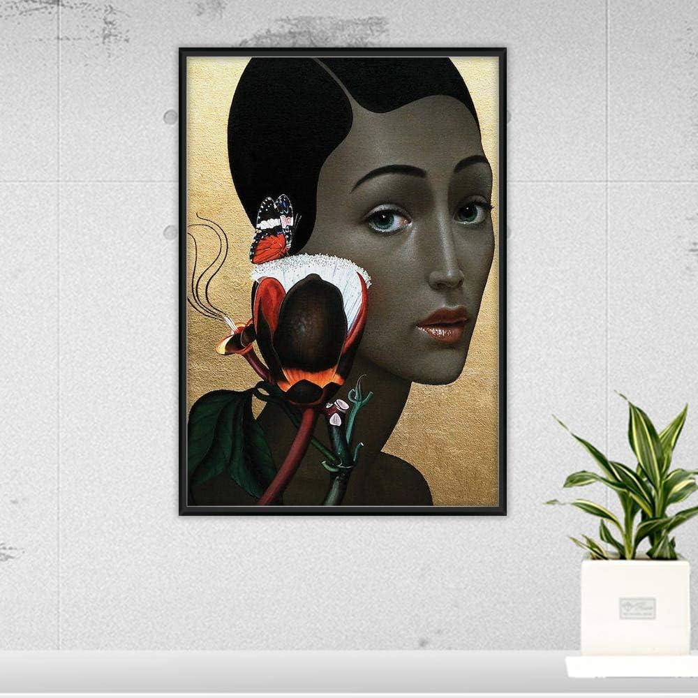 KWzEQ Pintura sin Marco nórdica Abstracta Moderna Chica con una Variedad de Flores para el Cabello y pájaros Arte de la Pared póster decoración del hogarAY6848 30X40cm