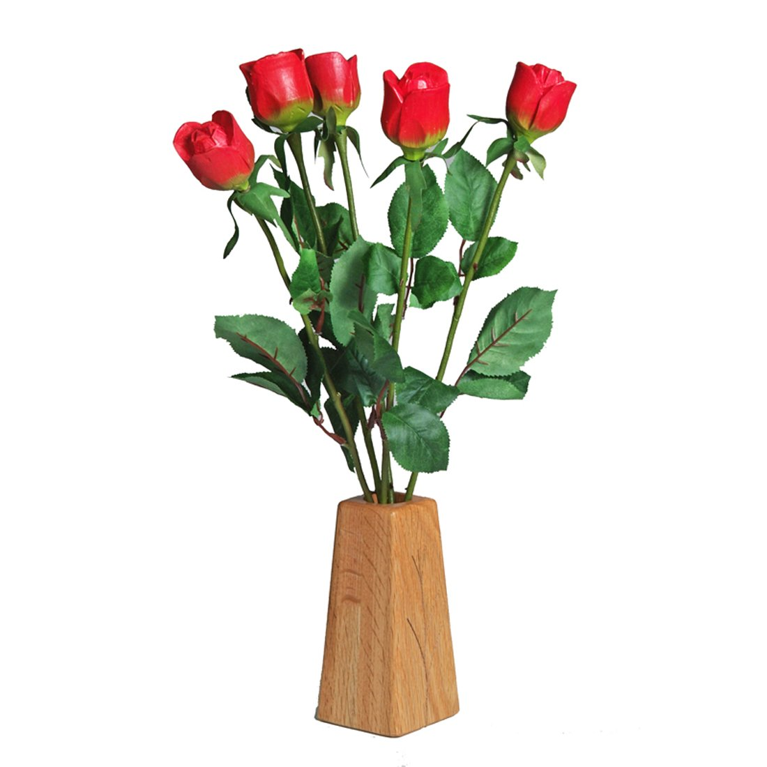 JustPaperRoses 5th Wedding Anniversary Gift wood roses 5-Stem Bouquet and Wood Vase
