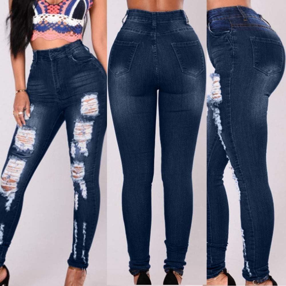 Routinfly Pantaloni da donna Jeans Skinny de Cintura Alta de Mujer ...