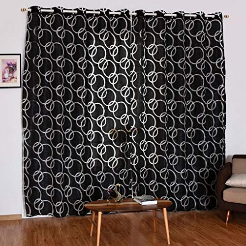 Beyonds Sheer Curtains Panels for Livingroom - ♥ Breathable Window Kitchen Shower Curtain, Black Circle Bubble Ventilation Insulation Voile Treatment Patio Door Drapes