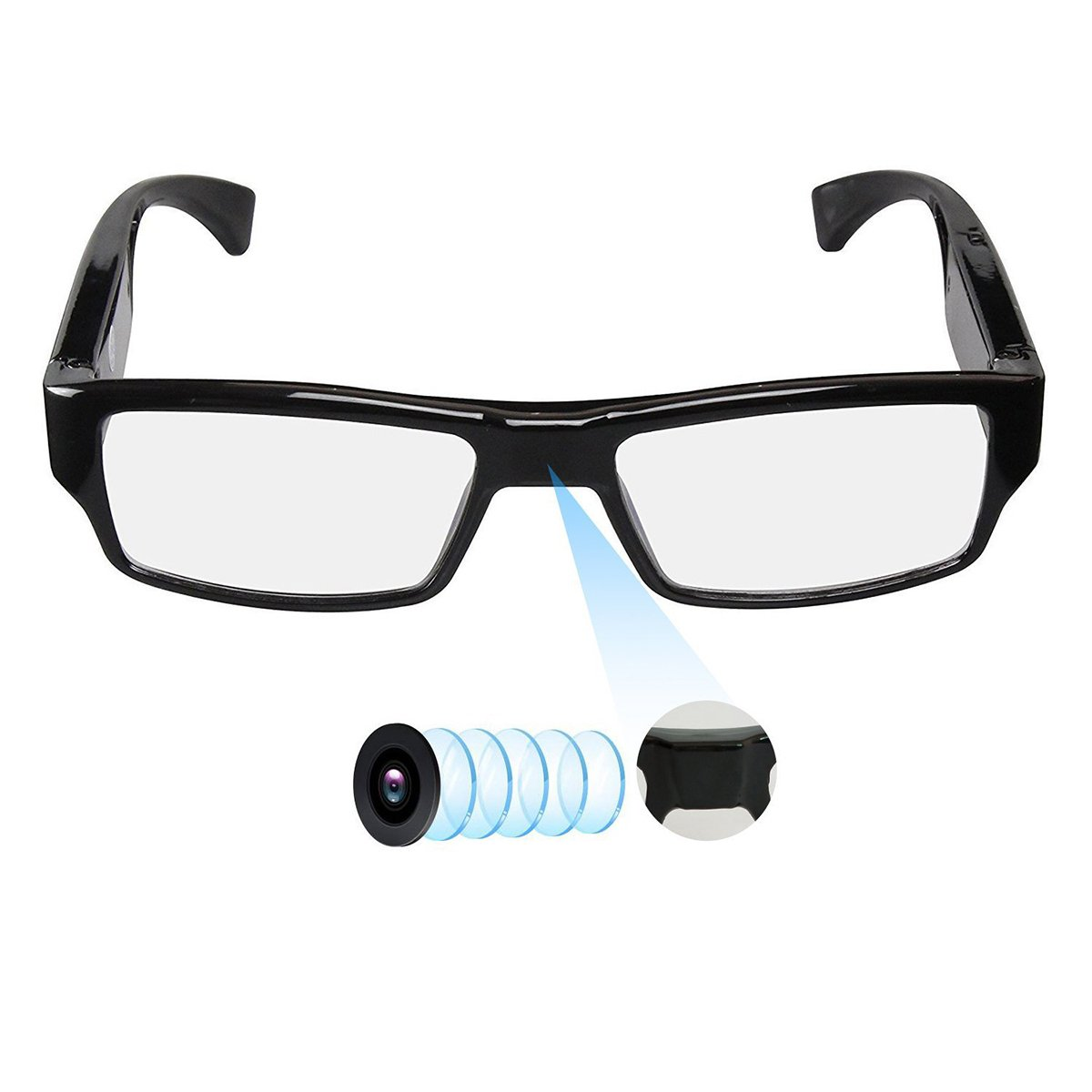 Spy Camera Glasses with Video Support Up to 32GB TF Card 1080P Video Camera Glasses Portable Video Recorder by Hereta