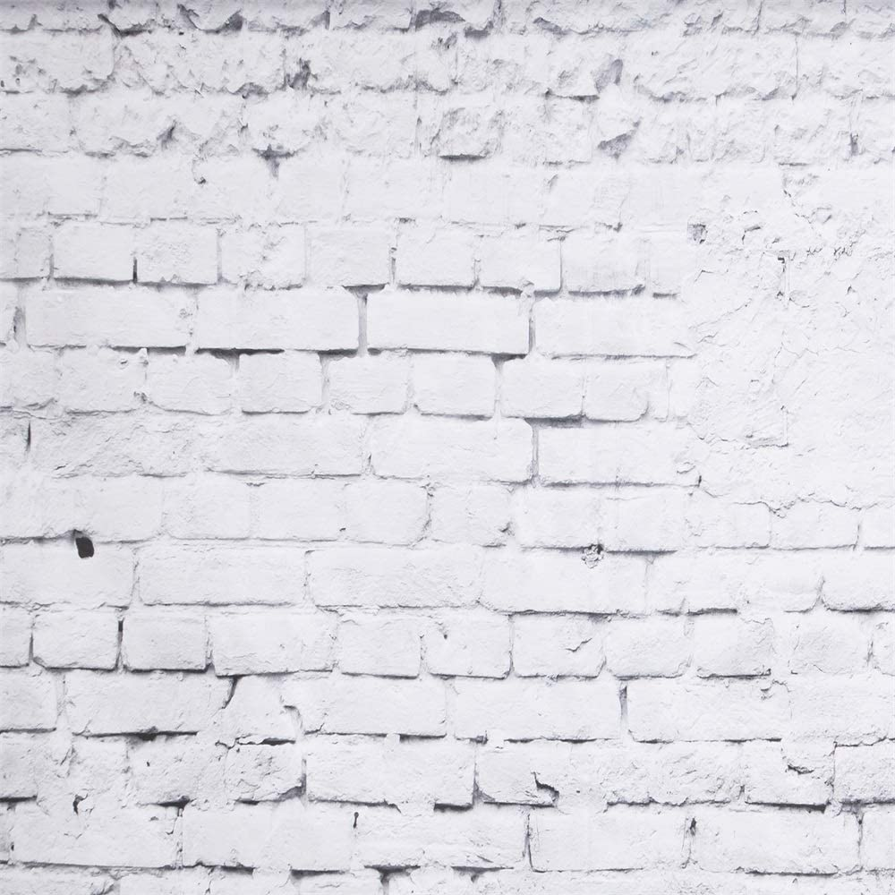 SLTY 5X7FT White Brick Wall Photo Backdrops Wooden Floor Photography Wallpaper