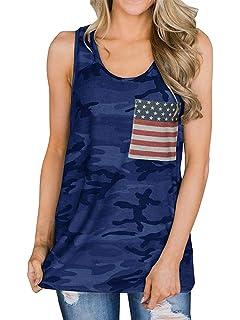 776c89e139e5a YEXIPO Womens American Flag Racerback Tank Tops 4th of July Shirts  Patriotic Camo Summer Sleeveless Tops