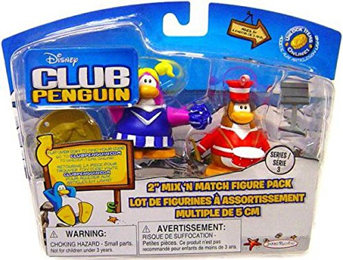 Includes Coin with Code! Disney Club Penguin Series 3 Mix N Match Mini Figure Pack Marching Band and Cheerleader