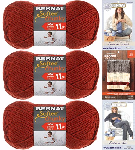 Super Bulky Knitting Patterns - Bernat Redwood Softee Chunky Yarn Super Bulky #6 Bundle Includes Knitting and Crochet Instructions and Lumberjack Blanket Pattern