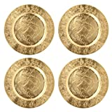 Hosley Set of 4, Gold Plastic Decorative Charger Plate- 11.75'' Diameter. Ideal GIFT for Wedding, Party Favor, Bridal, Home Warming. P1