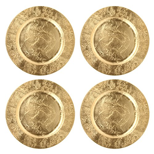 Hosley Set of 4, Gold Plastic Decorative Charger Plate- 11.75'' Diameter. Ideal GIFT for Wedding, Party Favor, Bridal, Home Warming. P1 by Hosley